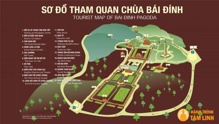 sơ đồ tham quan chùa Bái Đính