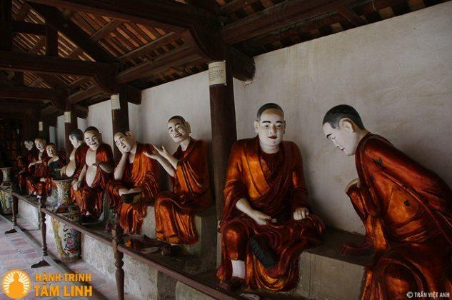 18 vị la hán bên hành lang chùa