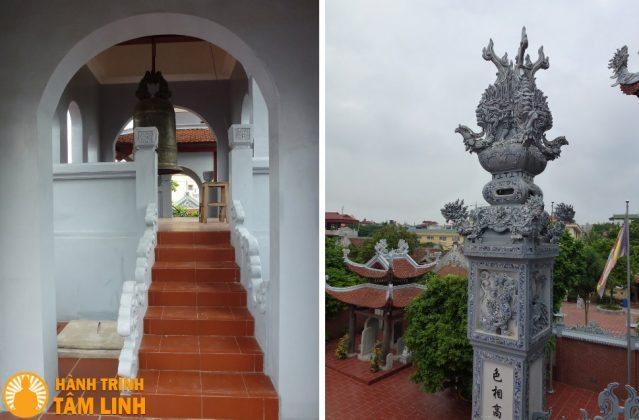 Gác chuông và trụ biểu của tam quan chùa Nga My