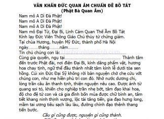 Văn khấn Đức Quan Âm Chuẩn Đề Bồ Tát ở chùa Hương